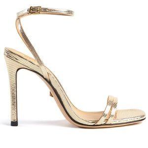 Schutz Altina Gold Heels Lizard Embossed Leather